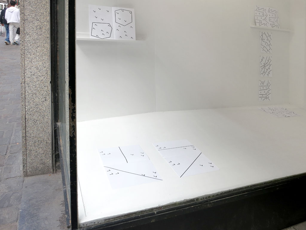 Claude Closky, 'Sept et pas sept [Seven and not seven],' 2013, window installation 7 rue de Flandre, Brussels. Black and white offset and laser prints, shelves, fifteen 29,7 x 21 cm pages, windows 200 x 280 x 100, 200 x 250 x 20 cm.